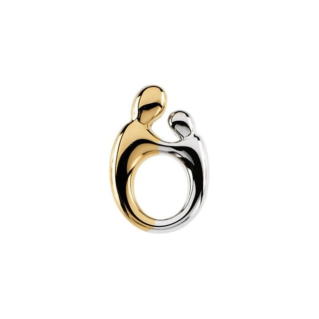 14K Yellow 14.25x10 mm Mother and Child® Slide Pendant