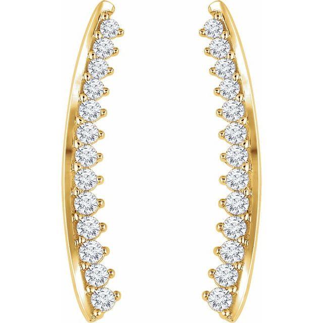 14K Yellow 1/3 CTW Diamond Ear Climbers