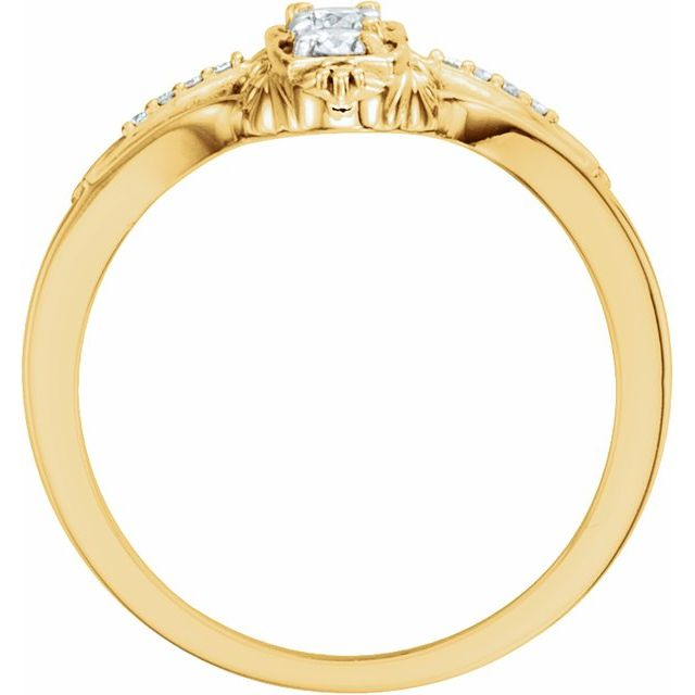 14K Yellow 1/3 CTW Diamond 3-Stone Ring