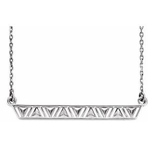 """14K White Triangle Bar 16-18"""" Necklace"""