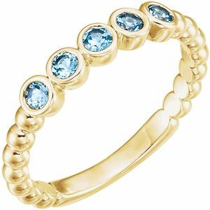 14K Yellow Aquamarine Bezel-Set Beaded Ring