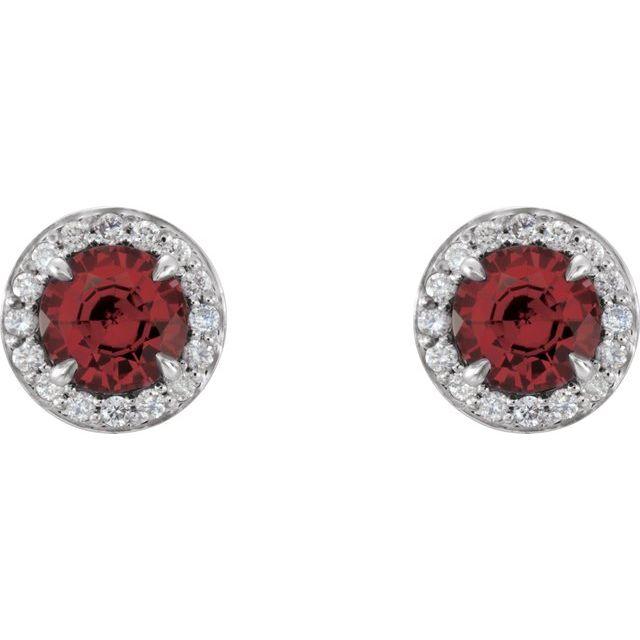 14K White Round Garnet & 1/8 CTW Diamond Earrings