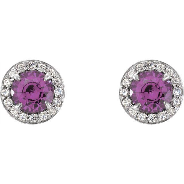 14K White 4 mm Round Amethyst & 1/10 CTW Diamond Earrings