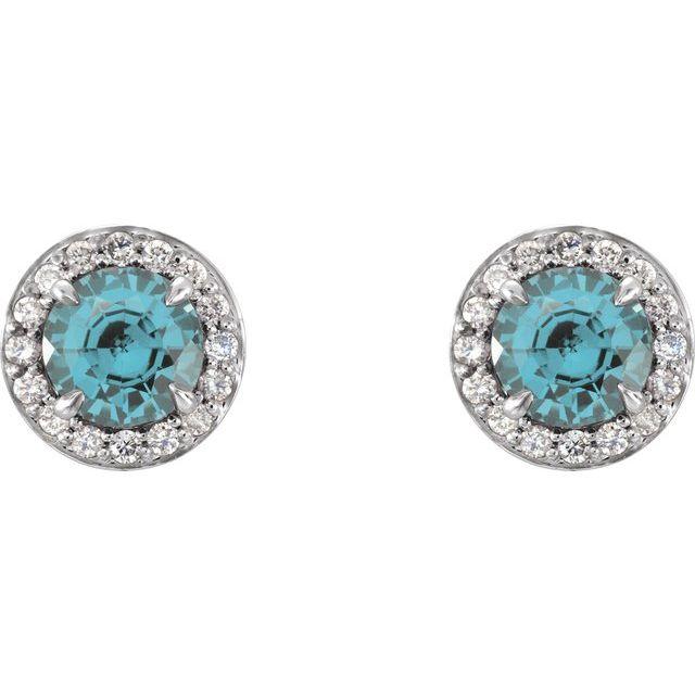 14K White 5 mm Round Aquamarine & 1/8 CTW Diamond Earrings