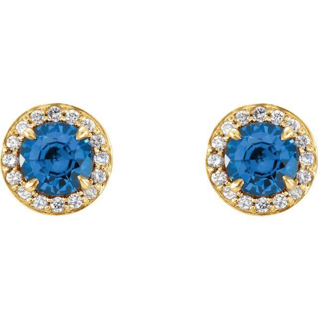 14K Yellow 5 mm Round Sapphire & 1/8 CTW Diamond Earrings