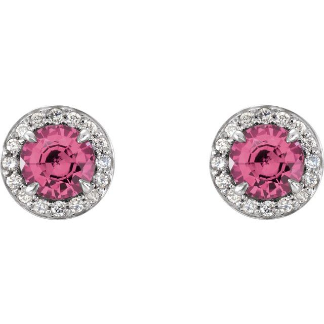 14K White 5 mm Round Pink Tourmaline & 1/8 CTW Diamond Earrings