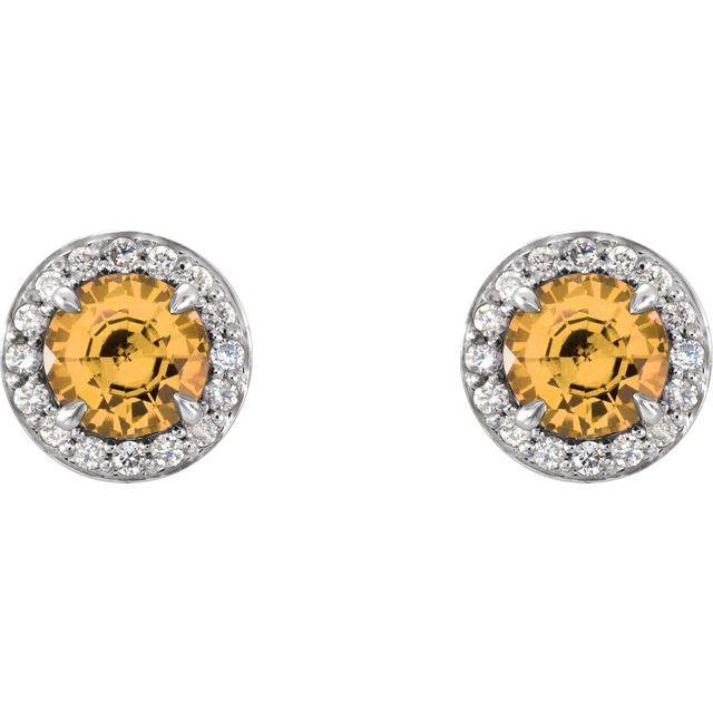 14K White 4.5 mm Round Citrine & 1/6 CTW Diamond Earrings