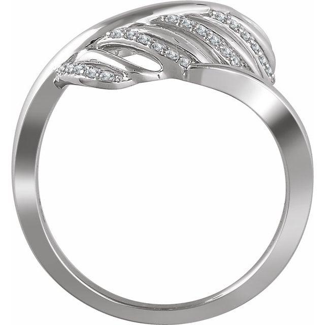 14K White 1/5 CTW Diamond Leaf Ring