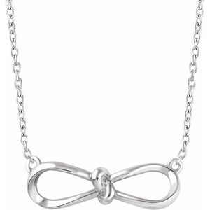 """Sterling Silver Bow 18"""" Necklace"""
