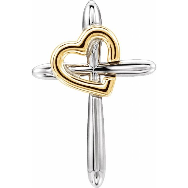 14K White & Yellow Cross with Heart Pendant