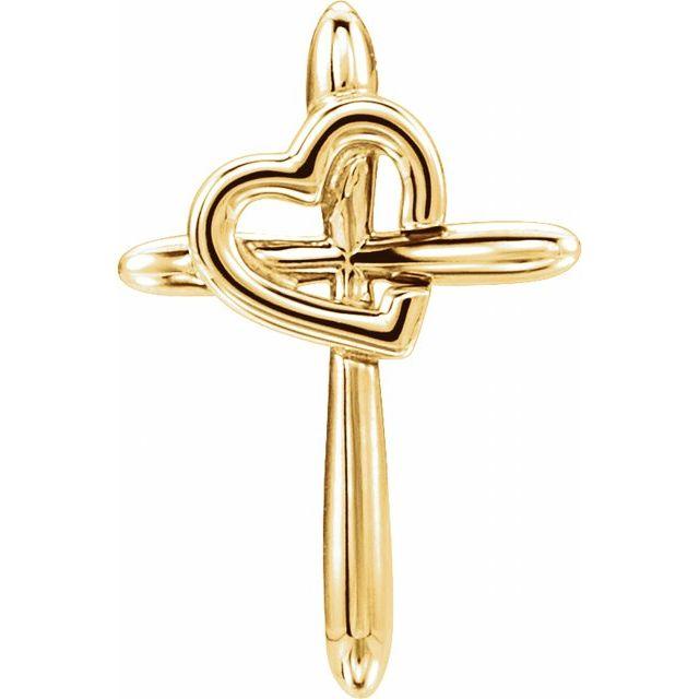 14K Yellow Cross with Heart Pendant