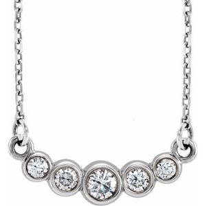 "14K White Graduated Bezel-Set 1/5 CTW Diamond 16-18"" Necklace"