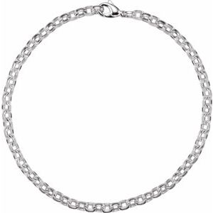 "Sterling Silver 6.75 mm Flat Cable 16"" Chain"