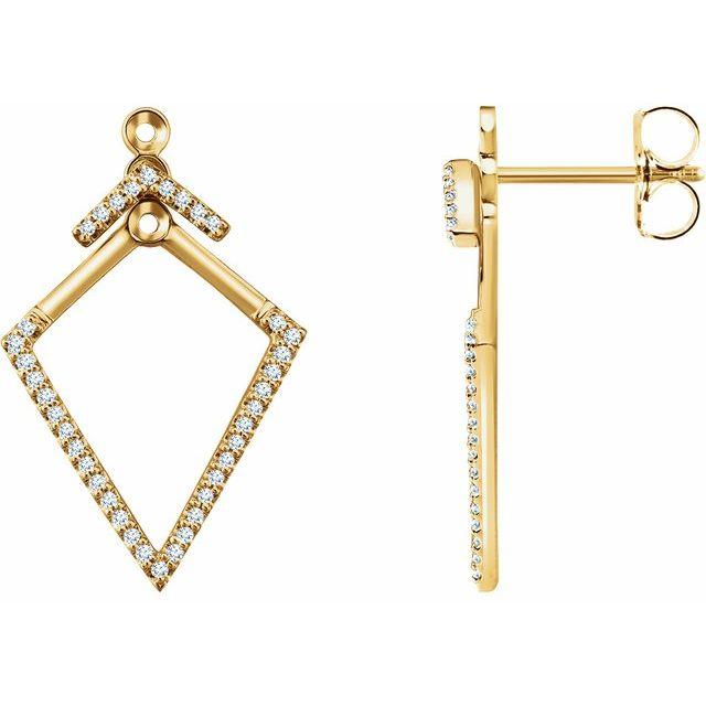14K Yellow 1/4 CTW Geometric Diamond Earrings