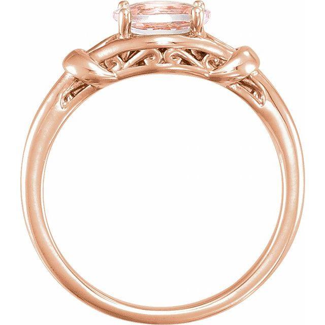 14K Rose 6x4 mm Oval Morganite Knot Ring