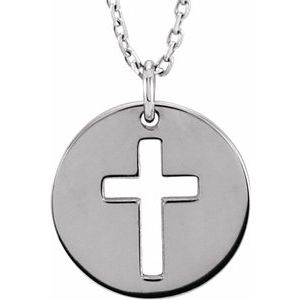 "Sterling Silver Pierced Cross Disc 16-18"" Necklace"