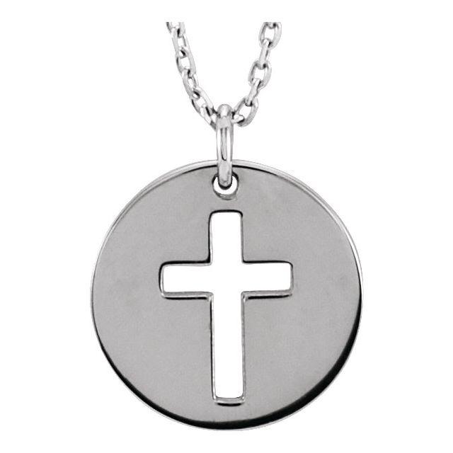 Sterling Silver Pierced Cross Disc 16-18