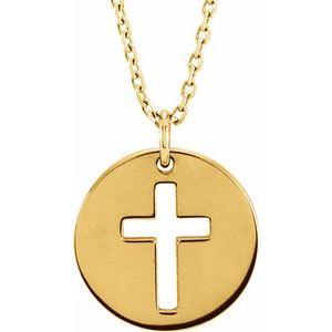 "14K Yellow Pierced Cross Disc 16-18"" Necklace"