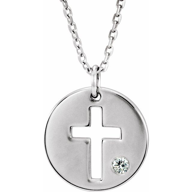 Sterling Silver Diamond Pierced Cross Disc 16-18