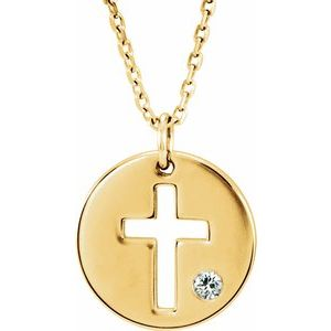 "14K Yellow .03 CTW Diamond Pierced Cross Disc 16-18"" Necklace"