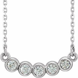 "14K White  1/3 CTW Diamond Bezel-Set 16-18"" Necklace"