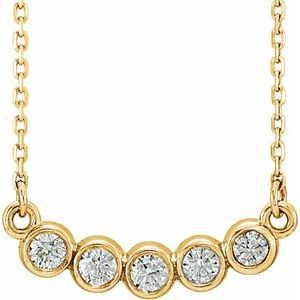 "14K Yellow  1/3 CTW Diamond Bezel-Set 16-18"" Necklace"