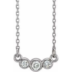 "14K White Graduated Bezel-Set 1/8 CTW Diamond 16-18"" Necklace"