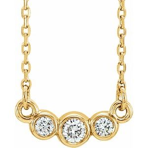 "14K Yellow Graduated Bezel-Set 1/8 CTW Diamond 16-18"" Necklace"