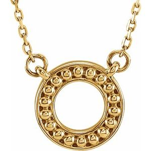 """14K Yellow Beaded Circle 16-18"""" Necklace"""