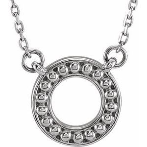 """Sterling Silver Beaded Circle 16-18"""" Necklace"""