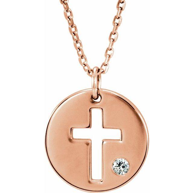 14K Rose .03 CTW Diamond Pierced Cross Disc 16-18