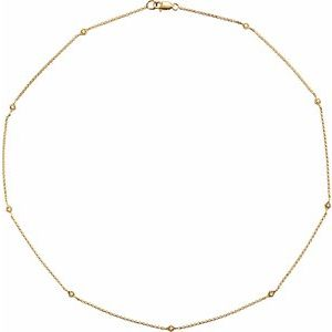 "14K Yellow 1/6 CTW Diamond 16"" Station Necklace"
