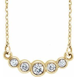 "14K Yellow Graduated Bezel-Set 1/5 CTW Diamond 16-18"" Necklace"