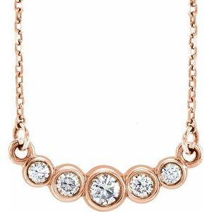 "14K Rose Graduated Bezel-Set 1/5 CTW Diamond 16-18"" Necklace"