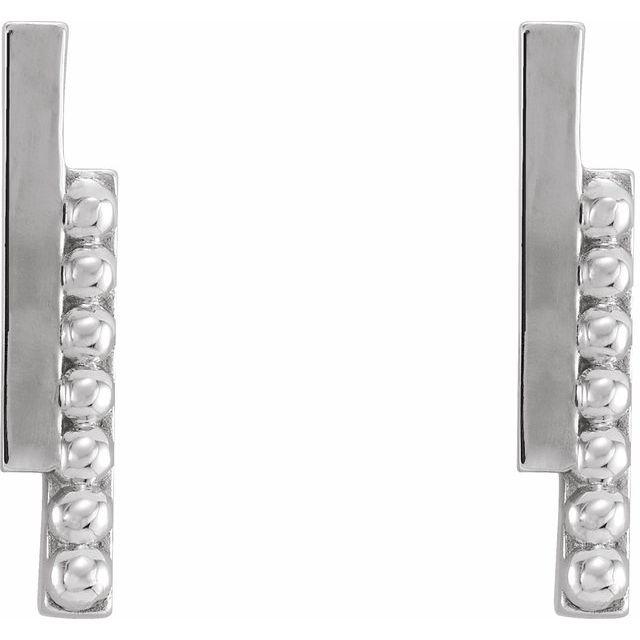 Platinum Beaded Bar Earring