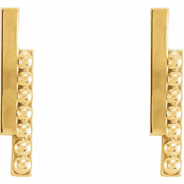 14K Yellow Beaded Bar Earring