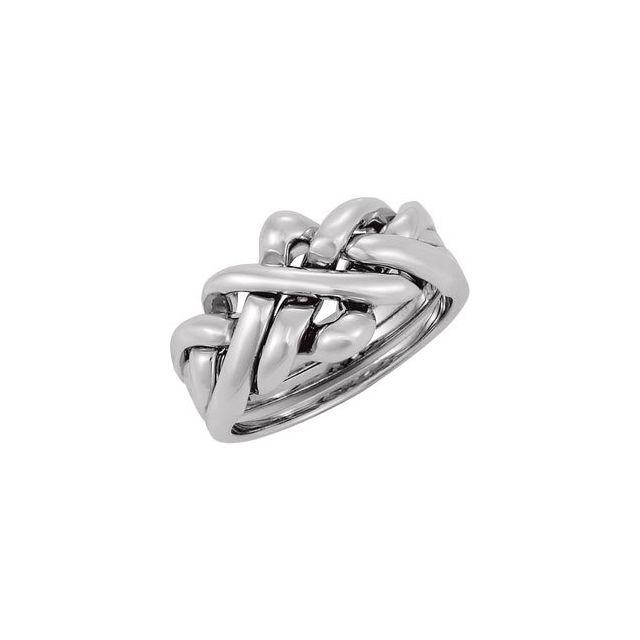 14K White 12.5 mm Puzzel Ring