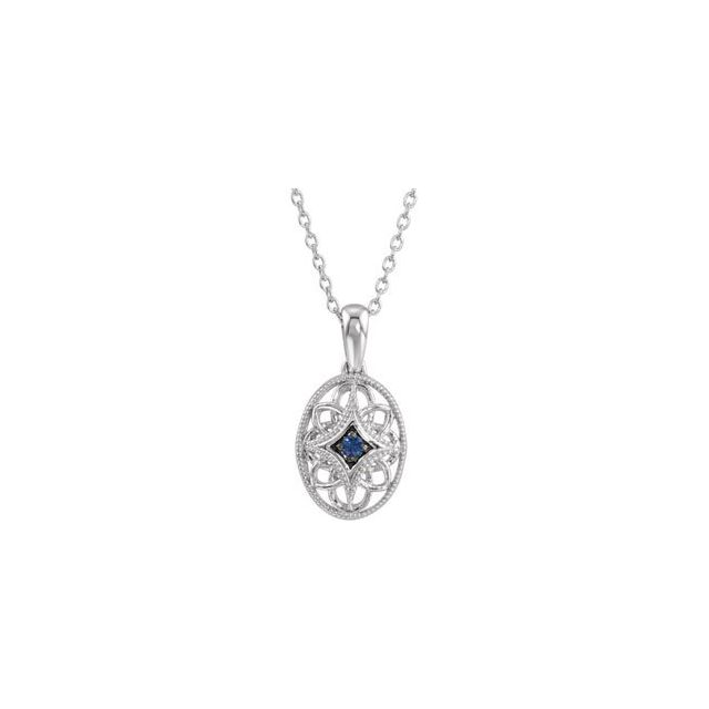 Sterling Silver Blue Sapphire 18