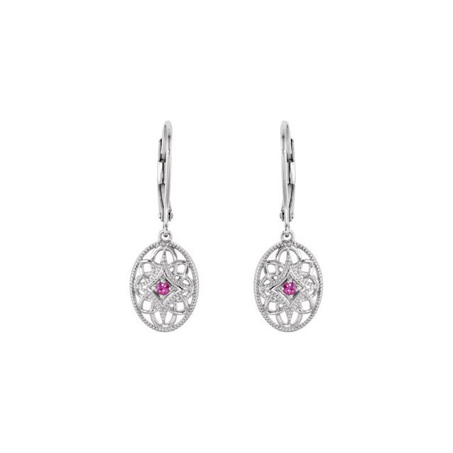 Sterling Silver Ruby Lever Back Earrings