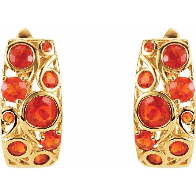 Cabochon Hinged Earrings