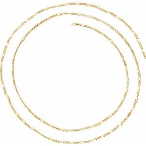 14K Yellow 1.5 mm Solid Figaro Chain Per Inch