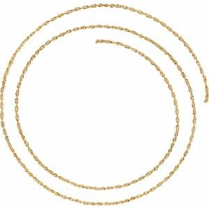 14K Yellow 1.75 mm Solid Rope Chain by the Inch