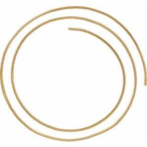 14K Yellow 1.5 mm Solid Round Snake Chain by the Inch