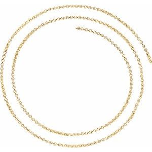 14K Yellow 2 mm Rolo Chain by the Inch