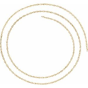18K Yellow 1.5 mm Solid Rope Chain By the Inch