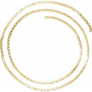 14K Yellow 2.25 mm Curbed Anchor Chain by the Inch