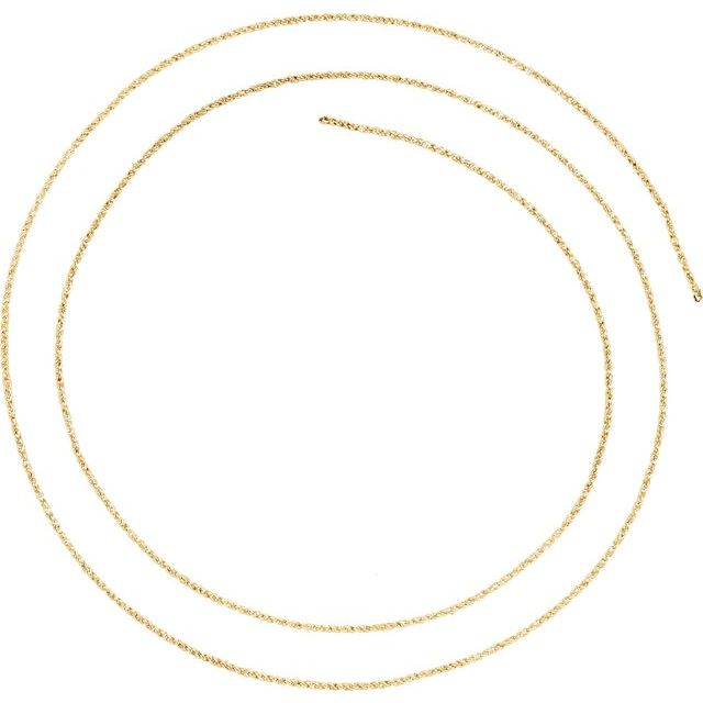 14K Yellow 1 mm Twisted Wheat Chain by the Inch