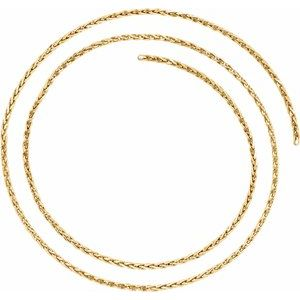 14K Yellow 2 mm Diamond Cut Wheat Chain by the Inch
