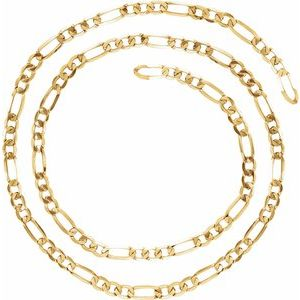 14K Yellow 5.5 mm Figaro Chain Per Inch