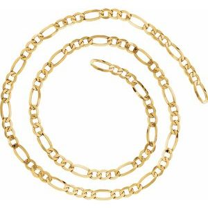 14K Yellow 6.5 mm Figaro Chain by the Inch